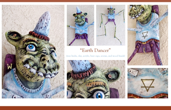 "24"" x 36"" tree branch dancer, with lovely beer cap teeth, eyebrows, and ears."